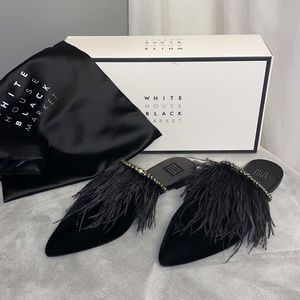 New! White House   Black Market Blaire Feather Mules